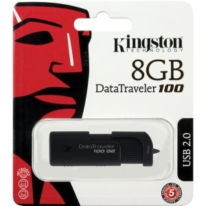Kingston Flash Memory DT100G2/8GBZ 8GB USB Black Retail